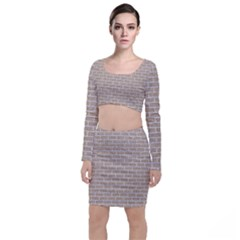 Brick1 White Marble & Sand Long Sleeve Crop Top & Bodycon Skirt Set