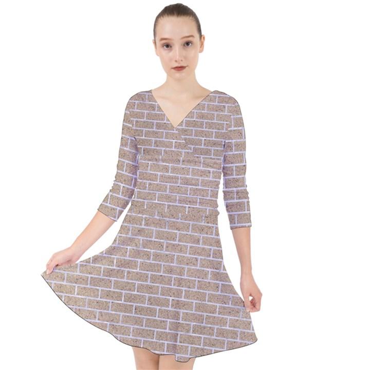 BRICK1 WHITE MARBLE & SAND Quarter Sleeve Front Wrap Dress