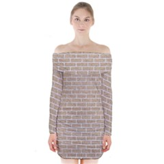 Brick1 White Marble & Sand Long Sleeve Off Shoulder Dress