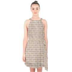 Brick1 White Marble & Sand Halter Collar Waist Tie Chiffon Dress