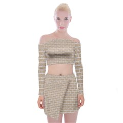 Brick1 White Marble & Sand Off Shoulder Top With Mini Skirt Set