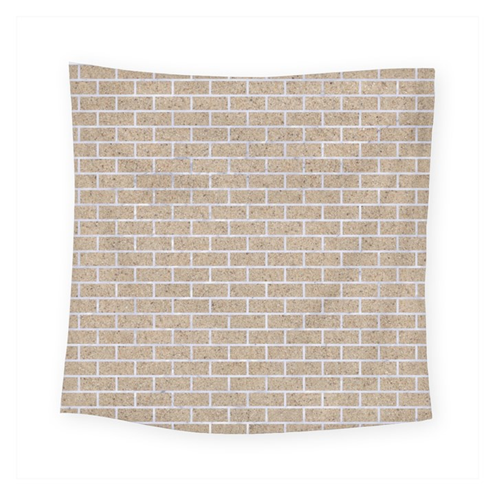 BRICK1 WHITE MARBLE & SAND Square Tapestry (Small)