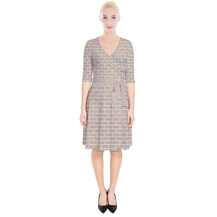 BRICK1 WHITE MARBLE & SAND Wrap Up Cocktail Dress