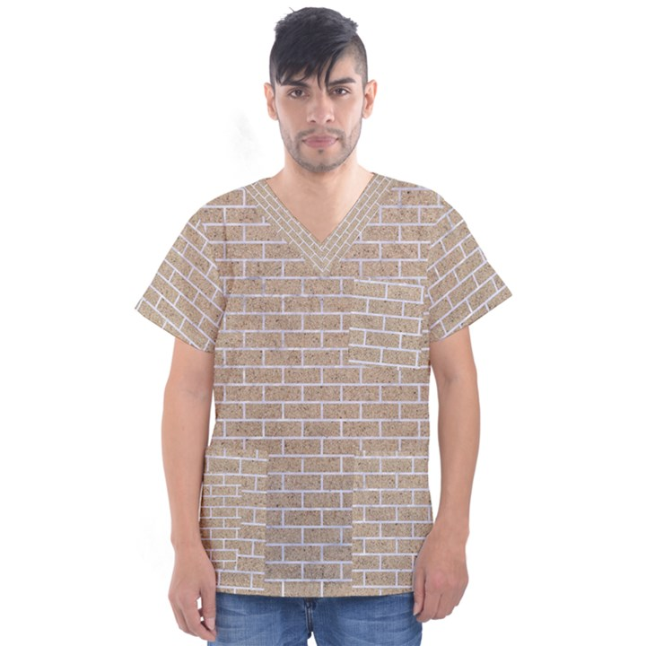 BRICK1 WHITE MARBLE & SAND Men s V-Neck Scrub Top