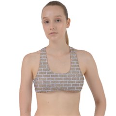 Brick1 White Marble & Sand Criss Cross Racerback Sports Bra