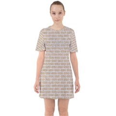 Brick1 White Marble & Sand Sixties Short Sleeve Mini Dress