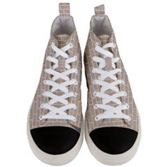 Brick1 White Marble & Sand Men s Mid Top Canvas Sneakers