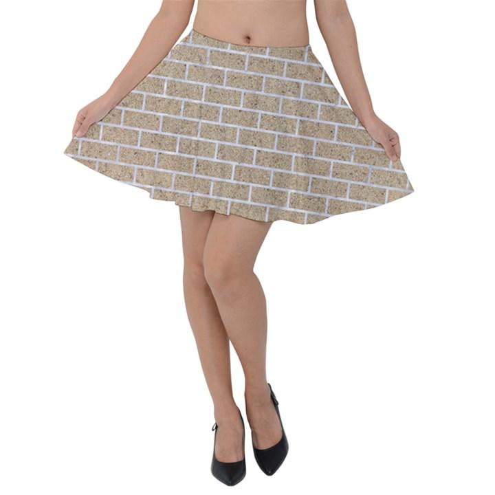 BRICK1 WHITE MARBLE & SAND Velvet Skater Skirt