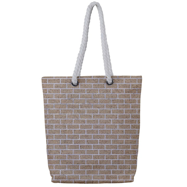 BRICK1 WHITE MARBLE & SAND Full Print Rope Handle Tote (Small)