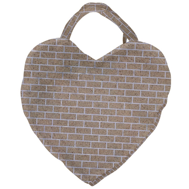BRICK1 WHITE MARBLE & SAND Giant Heart Shaped Tote