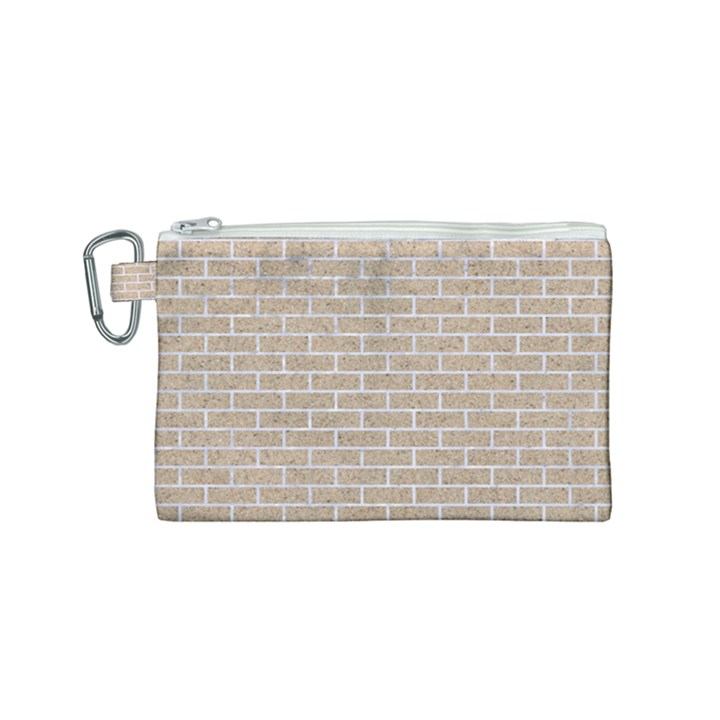 BRICK1 WHITE MARBLE & SAND Canvas Cosmetic Bag (Small)