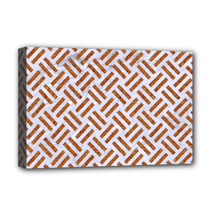 WOVEN2 WHITE MARBLE & RUSTED METAL (R) Deluxe Canvas 18  x 12