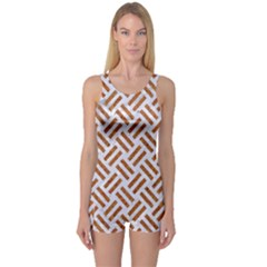 Woven2 White Marble & Rusted Metal (r) One Piece Boyleg Swimsuit