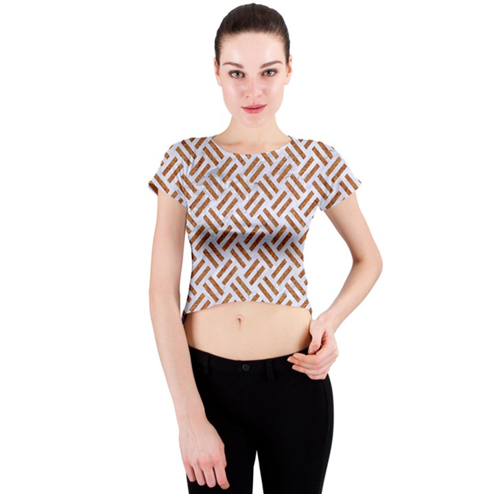 WOVEN2 WHITE MARBLE & RUSTED METAL (R) Crew Neck Crop Top