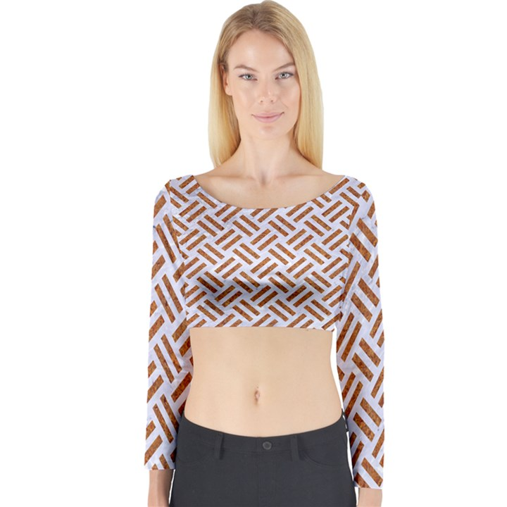 WOVEN2 WHITE MARBLE & RUSTED METAL (R) Long Sleeve Crop Top