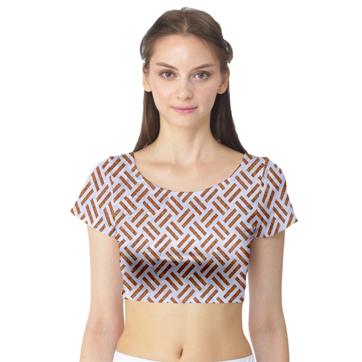 WOVEN2 WHITE MARBLE & RUSTED METAL (R) Short Sleeve Crop Top