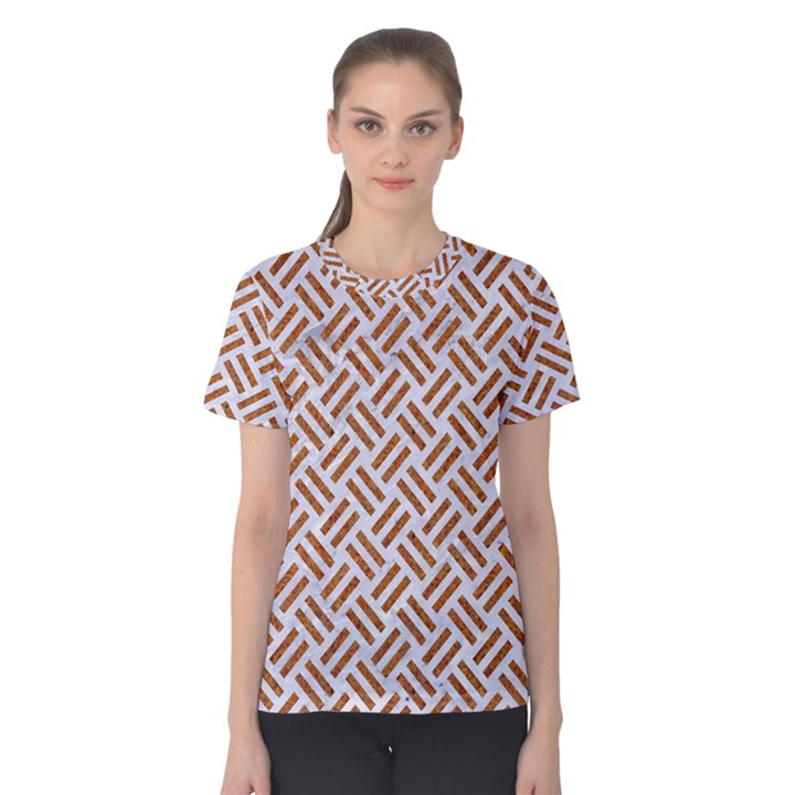 WOVEN2 WHITE MARBLE & RUSTED METAL (R) Women s Cotton Tee