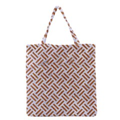 Woven2 White Marble & Rusted Metal (r) Grocery Tote Bag