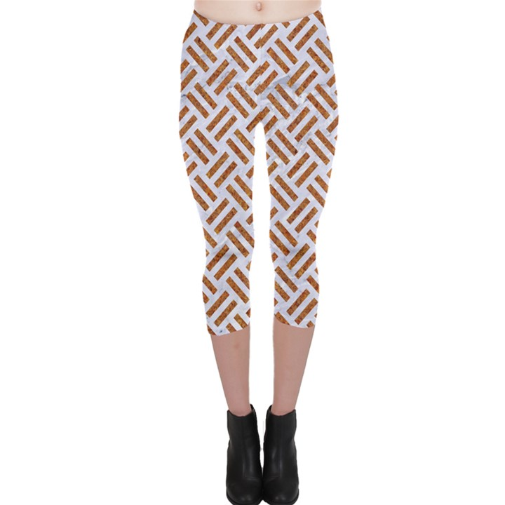 WOVEN2 WHITE MARBLE & RUSTED METAL (R) Capri Leggings