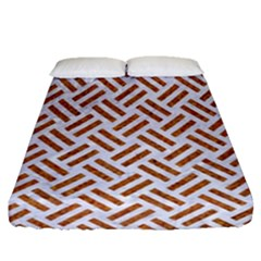 Woven2 White Marble & Rusted Metal (r) Fitted Sheet (queen Size)
