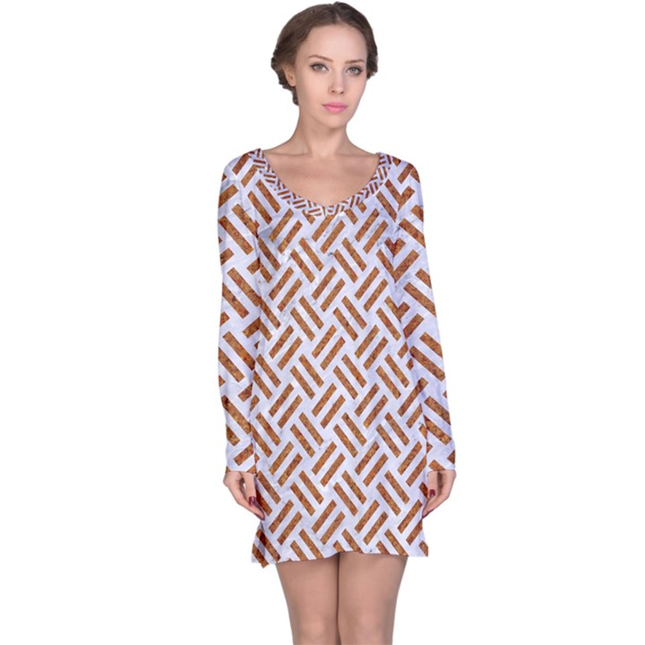 WOVEN2 WHITE MARBLE & RUSTED METAL (R) Long Sleeve Nightdress