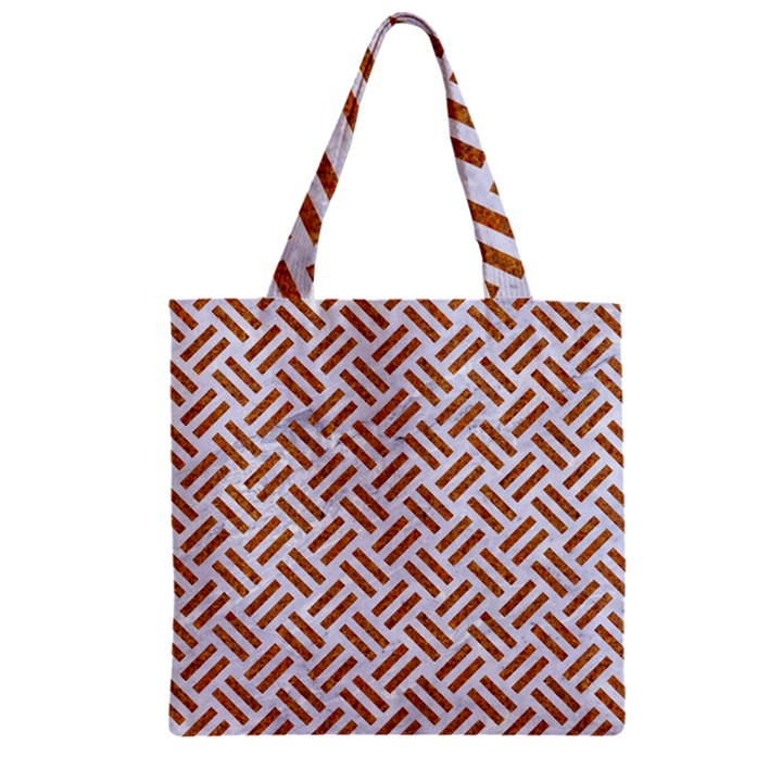 WOVEN2 WHITE MARBLE & RUSTED METAL (R) Zipper Grocery Tote Bag