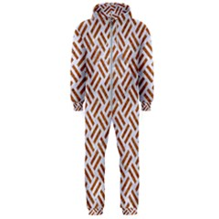 Woven2 White Marble & Rusted Metal (r) Hooded Jumpsuit (men)