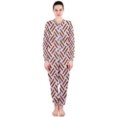 Woven2 White Marble & Rusted Metal (r) Onepiece Jumpsuit (ladies)