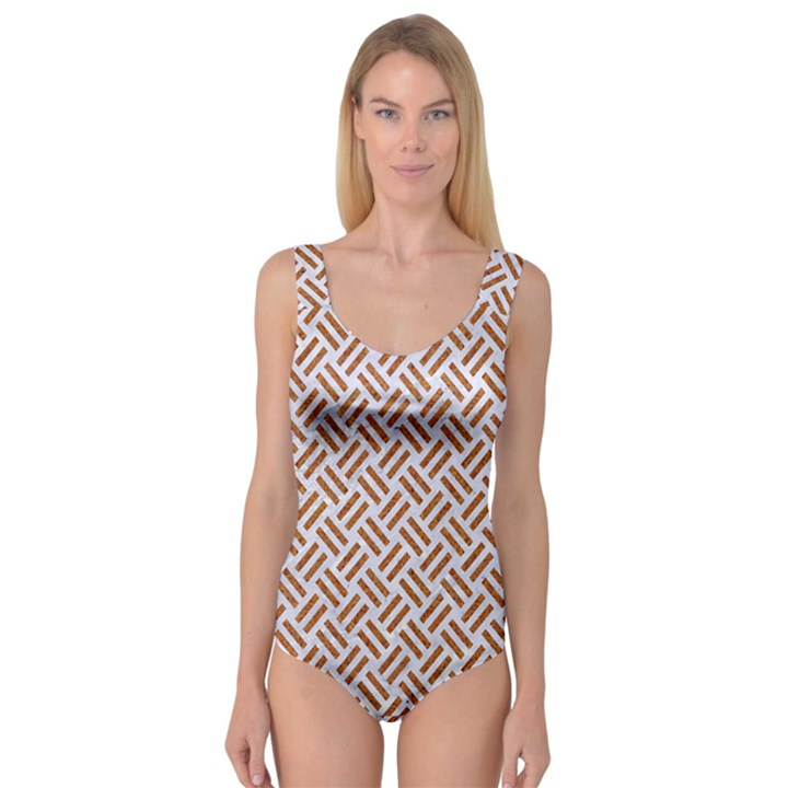 WOVEN2 WHITE MARBLE & RUSTED METAL (R) Princess Tank Leotard