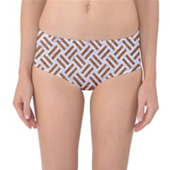 Woven2 White Marble & Rusted Metal (r) Mid Waist Bikini Bottoms