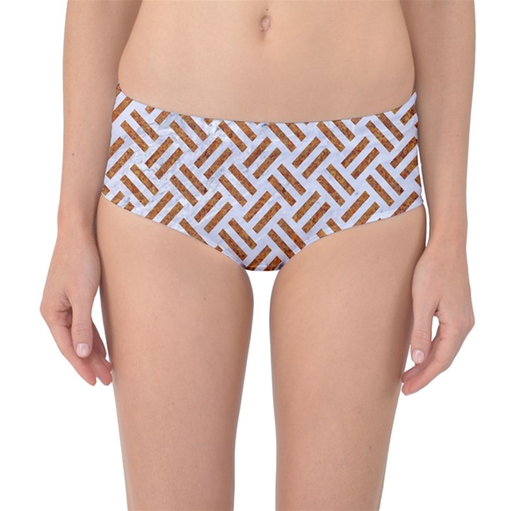 WOVEN2 WHITE MARBLE & RUSTED METAL (R) Mid-Waist Bikini Bottoms