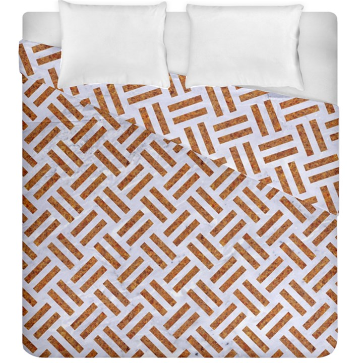 WOVEN2 WHITE MARBLE & RUSTED METAL (R) Duvet Cover Double Side (King Size)