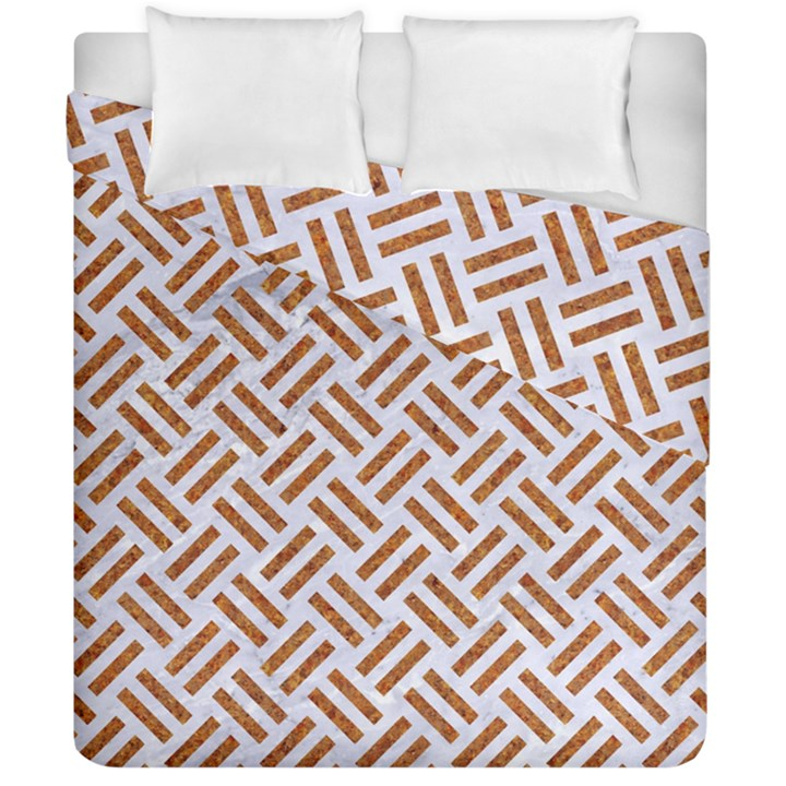 WOVEN2 WHITE MARBLE & RUSTED METAL (R) Duvet Cover Double Side (California King Size)