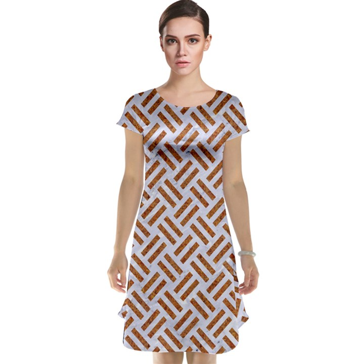 WOVEN2 WHITE MARBLE & RUSTED METAL (R) Cap Sleeve Nightdress