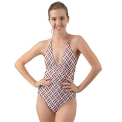 Woven2 White Marble & Rusted Metal (r) Halter Cut Out One Piece Swimsuit
