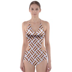 Woven2 White Marble & Rusted Metal (r) Cut Out One Piece Swimsuit