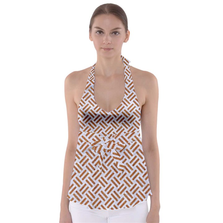 WOVEN2 WHITE MARBLE & RUSTED METAL (R) Babydoll Tankini Top