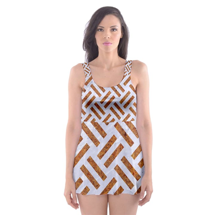 WOVEN2 WHITE MARBLE & RUSTED METAL (R) Skater Dress Swimsuit