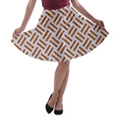 Woven2 White Marble & Rusted Metal (r) A Line Skater Skirt