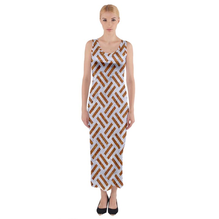 WOVEN2 WHITE MARBLE & RUSTED METAL (R) Fitted Maxi Dress