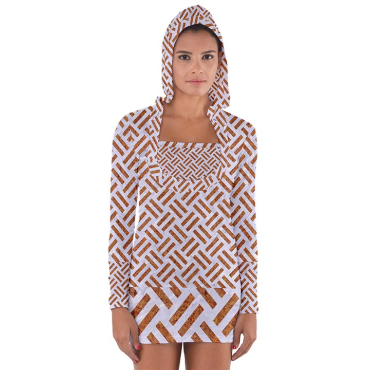 WOVEN2 WHITE MARBLE & RUSTED METAL (R) Long Sleeve Hooded T-shirt