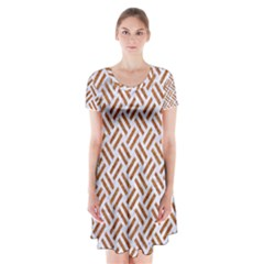 Woven2 White Marble & Rusted Metal (r) Short Sleeve V Neck Flare Dress