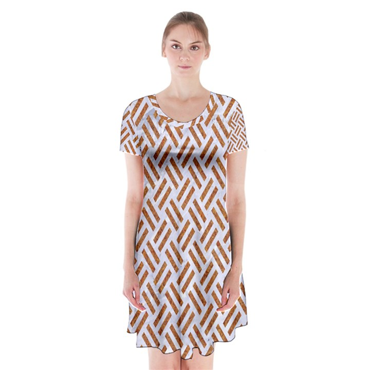 WOVEN2 WHITE MARBLE & RUSTED METAL (R) Short Sleeve V-neck Flare Dress