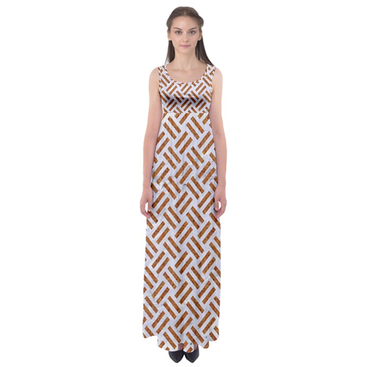 WOVEN2 WHITE MARBLE & RUSTED METAL (R) Empire Waist Maxi Dress