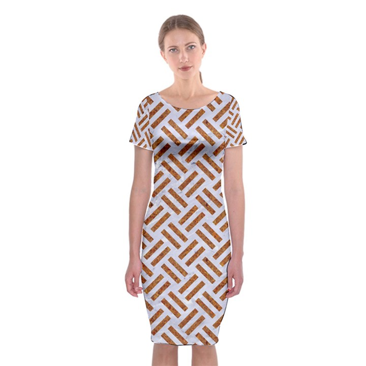 WOVEN2 WHITE MARBLE & RUSTED METAL (R) Classic Short Sleeve Midi Dress