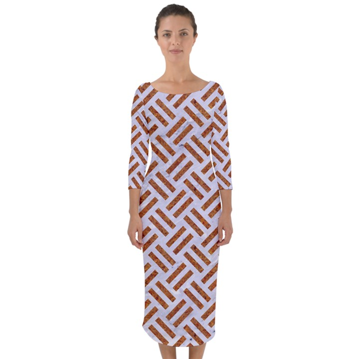 WOVEN2 WHITE MARBLE & RUSTED METAL (R) Quarter Sleeve Midi Bodycon Dress
