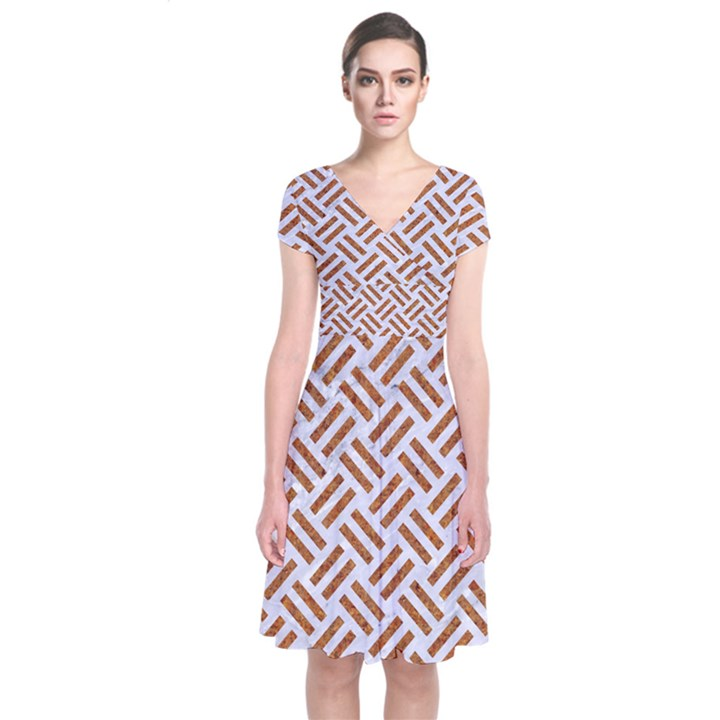 WOVEN2 WHITE MARBLE & RUSTED METAL (R) Short Sleeve Front Wrap Dress