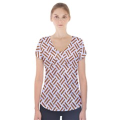 Woven2 White Marble & Rusted Metal (r) Short Sleeve Front Detail Top