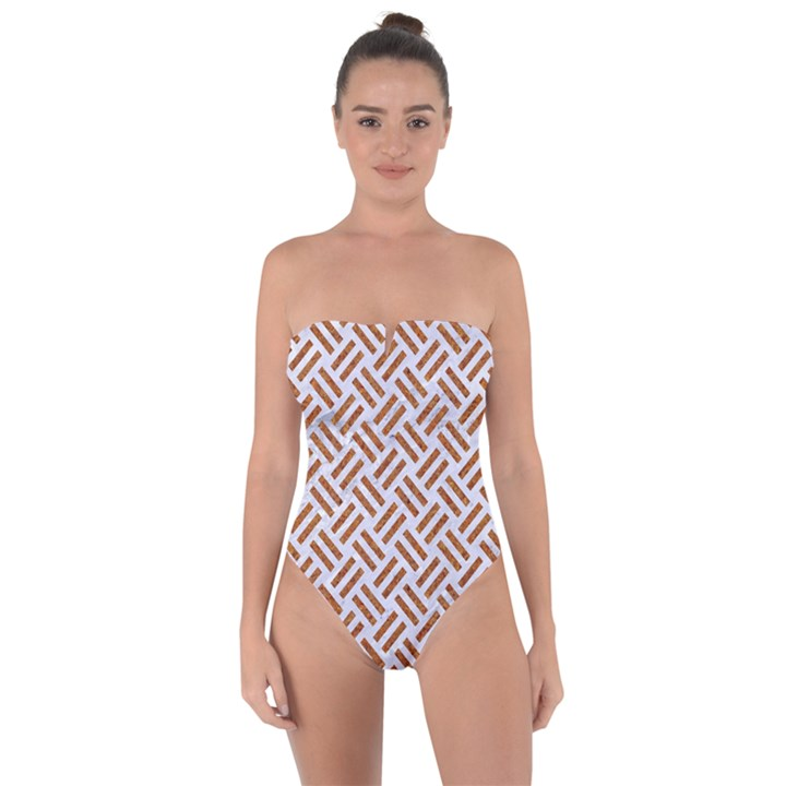 WOVEN2 WHITE MARBLE & RUSTED METAL (R) Tie Back One Piece Swimsuit