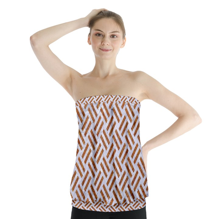 WOVEN2 WHITE MARBLE & RUSTED METAL (R) Strapless Top